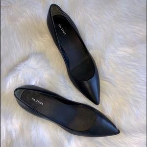 Via Spiga guervie leather block heel pump in black